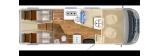 Hymer B M LI 780 mit Einzelbetten und Garage layout