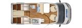 Hymer Van 374 mit Einzelbetten Garage layout