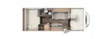 Carado A464 mit Heckquerbett und Garage layout