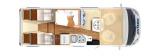 Hymer T580 Pure mit Einzelbetten und Garage layout