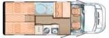Sunlight T66 mit Einzelbetten und Garage layout