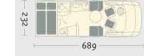 Niesmann & Bischoff ARTO 64GL mit Querbett und Garage layout