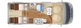 Hymer Exsis I 474 Facelift mit Einzelbetten layout