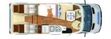 Hymer B MCT 580 mit Einzelbetten und Garage layout